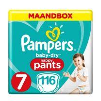 Pampers Baby Dry Nappy Pants Maat 7 - 116 Luierbroekjes Maandbox XL